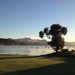 Morning view from my Bay Vista Motel room across Waikawa Bay