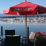 Oceanfront patio dining overlooking Comox Harbour