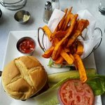 my burger with sweet potato fries