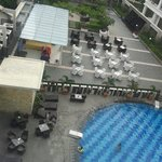 View of the pool and terrace from my room.