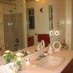 Spacious Bathroom, tub with shower. On main floor.