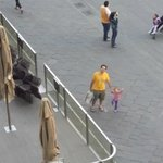 Piazza della Signoria - my daughter & husband returning from shopping