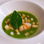 Pea Soup with Mussels, Clams, Langoustine and Bread