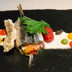 """Sardine Sandwich with """"Panzanella"""" Vegetable served with Ricotta cheese and Candied Capers"""