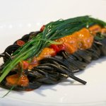 Black Spaghetti, Sea-urchins, Cress and Candied Peppers
