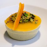 Pistachios with Pistachios Bavarian Cream and Tangerine Gel