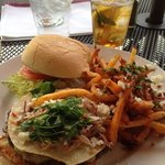 Famous Burger with a Pork Taco Twist. YUMMY and Kitchen Fries