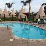 Pool area with tipi's in the background.