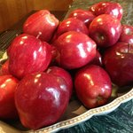 Fresh apples at the front desk