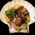 Seared scallops, pork belly and pea risotto