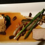 Chicken with charred baby leeks and morel mushrooms