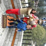 Khushi & Dhyaan with Statue