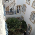 a view from the terrace down to rooms...