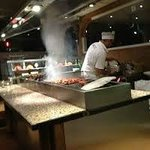 cooking front of customer, real charcoal experience
