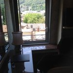 The window with a ledge where we could look outside and see Lake Como.