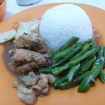 Set lunch with rice, wine chicken, mince pork with tofu & stir fried long beans