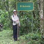 Unexpected signpost on jungle track