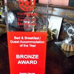 Bronze Award for Best B&B from VisitEngland