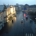 A very early morning view of a rainy square. There is something that I love about this photo.