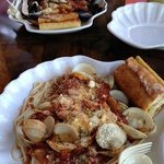 Mussels (top) and Clams (bottom) Marinara w/Pasta..Delish! Love the garlic bread too!