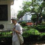 Daniel begins the tour at Johnson Square.