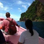 On board with Randolph on the way from Sugar beach to Soufriere