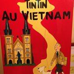 Tintin sign in front hall, upstairs