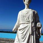Statue near pool