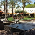 Nice eating and activity area near pool