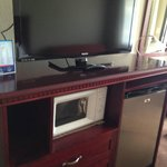 Huge flat screen, micro & fridge