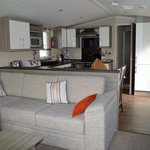 Platinum caravan living area & kitchen