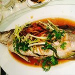 Steam sea bass with soy sauce