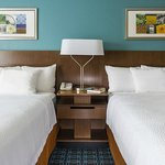 Queen beds guest room at the Fairfield Inn & Suites Chicago Naperville/Aurora
