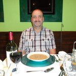 My lovely hubby Rob with his starter (soup of the day) which he said was delicious ,