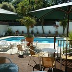 The outdoor heated swimming pool