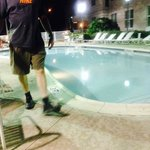 My husband at the pool in the evening.