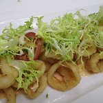 Our calamari: cherry peppers, frisée, spicy aioli ...delicious
