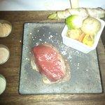 very hot volcanic stone and rare beef steak
