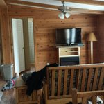 View of two bdrms and fireplace in guest cabin...plus my kid