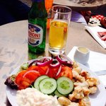 Chicken salad and Peroni beer
