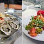 Oysters / Heirloom tomato salad