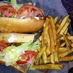 Pepper cheesesteak with mayo, tomato, lettuce. Side of fries :)