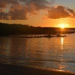 Sunrise over the private beach