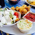 Calamari, slaw and side salad