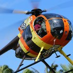 The Chopper taking off from our Kahuku helipad