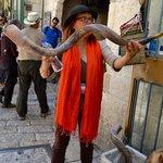 Showing us the Shofar (rams horn)
