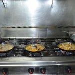 paella on the stove