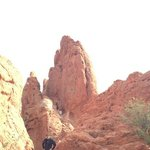 climbing the rocks in the Garden of the Gods