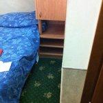 nasty carpet, very small room