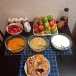 A wee selection of fruits, yogurts & pastries awaits you in the morning